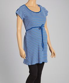 Another great find on #zulily! Blue & White Stripe Maternity Tie-Waist Tunic - Women by Oh! Mamma #zulilyfinds