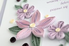 Fioletowe kwiaty w ramce quilling flowers handmade floral composition Paper Quilling Cards, Quilling Flowers, Bows, Floral, Composition, Handmade, Patterns, Arches, Block Prints