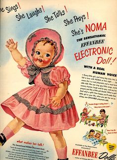 1950 Noma The Sensational Effanbee Electronic Doll Christmas Sales Art Ad Pub Vintage, Photo Vintage, Vintage Ephemera, Vintage Images, Vintage Style, Old Advertisements, Retro Advertising, Retro Ads, Old Dolls