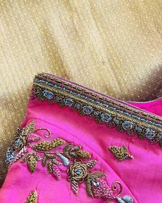 Fluorescent colour combination blouse , made for reddy… Brocade Blouse Designs, Silk Kurti Designs, Wedding Saree Blouse Designs, Half Saree Designs, Designer Blouse Patterns, Simple Embroidery Designs, Simple Blouse Designs, Stylish Blouse Design, Hand Work Blouse