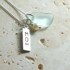 Seafoam MOM Charm Necklace  Sea Glass Jewelry by sweptfromthesea