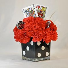 Centerpieces for las vegas party spectacular design casino Casino Themed Centerpieces, Casino Party Decorations, Casino Party Foods, Casino Theme Parties, Party Centerpieces, Party Themes, Centerpiece Ideas, Party Ideas, Decoration Party