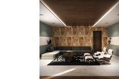 Print blocks as a wall finish - interior design by SUTO Interior Architects
