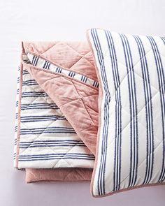 Railroad Stripe Quilt - French Blue/RedRailroad Stripe Quilt - French Blue/Red