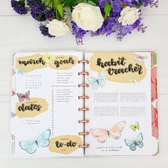 March setup filled out ❤🦋 - Check out my new PWM video to see how I made it 😘 . . . #march #butterflies #doodles #scrapbooking #cover #notebook #studyblr #bohoberrytribe #organisation #bulletjournalsetup #stationery #bujobeauty #discoverbulletjournal #bulletjournal #discboundnotebook #bujolove #discboundplanner #bujoinspire #bujoinspo #study #bulletjournalcollection #planneraddict #studying #flatlay #studygram #flowers #spring