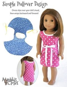 Reversible Dress Doll Clothes Pattern 18 inch A… - American Girl Dolls American Girl Outfits, Ropa American Girl, American Girl Crafts, American Doll Clothes, American Dress, Sewing Doll Clothes, Baby Doll Clothes, Barbie Clothes, Diy Clothes For Dolls