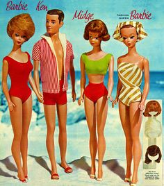 Barbie & Friends, 1963 - I had the Barbie in the gold stripped bathing suit with the wigs and I also had that Ken! Many  happy hours playing...