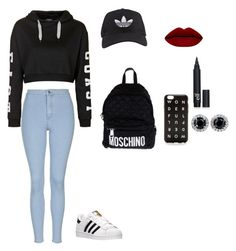 """""""Untitled #274"""" by taylorlluv on Polyvore featuring Topshop, adidas, Moschino, women's clothing, women, female, woman, misses and juniors"""