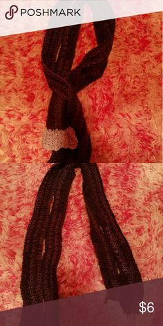 Handmade scarf Crocheted by my grandmother. The holes you see in the scarf are suppose to be there, it so to can put one end of the scarf in it as you can see in the first picture. Accessories Scarves & Wraps