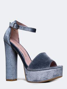 Velvet Ankle Strap Platform Heel