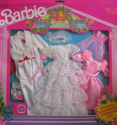 """Barbie Special Wedding Fashion Set (1990 Arco Toys, Mattel). Barbie Special Wedding Day Fashion Set is a 1990 Arco Toys, Mattel production. For 11.5""""-12.5"""" KEN or Male Fashion Dolls, there's a white Tuxedo Jack w/Tails, a 1 piece white Body Suit w/red Cummerbund & red Bow Tie, & a pair of white Shoes. There's a red velvety piece behind the Tuxedo, but I'm not sure what it is. (Sorry, contents not indicated on package). Box approx. 16"""" h x 15"""" w x 1"""" d. Back of Box can be cut out & set up…"""