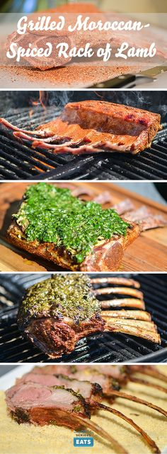 Inspired by the deep, rich, and balanced flavors of Moroccan dishes, this delicious grilled rack of lamb is rubbed with a complex spice mixture that includes paprika, cumin, and cayenne pepper, then crusted in a bright and fresh pesto-like blend of fresh cilantro, parsley, olive oil, garlic, and lemon juice. They're flavors that can both stand up to and enhance the strong flavor of lamb.