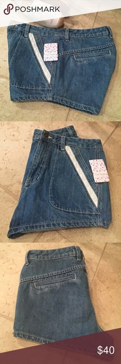 Free People Jean  Shorts Denim shorts with lace detail on pocket. Size 30. Shoes not included. Free People Shorts Jean Shorts