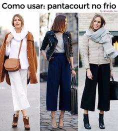 Você aderiu à moda da pantacourt, mas pretende aposentá-la durante o inverno? Nada disso! Com os complementos certos, dá para usar esta calça também nos dias frios! Te mostro como em: http://www.vazcomestilo.com.br/2017/06/pra-inspirar-looks-de-frio-com.html