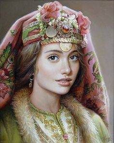 """Maria Ilieva was born in 1973 in Sofia, Bulgaria. She graduated from the Academy of Fine Arts in Sofia, in """"Mural"""". Since 1997 is a member of the Association of Bulgarian Artists.The artist worked on murals, portraits, still lifes. Portraits, Portrait Art, Female Portrait, Costume Ethnique, Bulgarian, Illustrations, Woman Face, Beautiful Paintings, Headdress"""