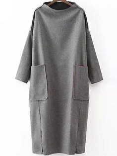 Dropped Shoulder Seam Slit Loose Dress With Pockets. -Romwe