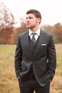 "Pinner said ""Erik dark grey suit (no pin color)  Photography: Brandy Smyth Photography - brandismythphotography.com/  Read More: http://www.stylemepretty.com/2014/07/21/louisiana-rustic-chic-wedding-inspiration/"