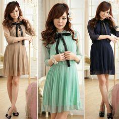 New Korean Women Chiffon Summer New Fashion Short Sleeve Solid Color Mini Dress | eBay