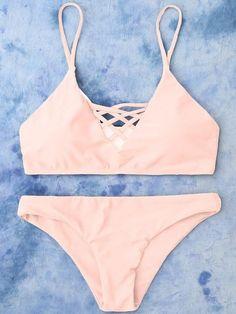 bc44012ef2b3f Strappy Bikini Hollow Out Beachwear Top Lace Up Swimsuit High Leg Bathing  Suit Bikini Set for