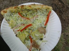 pesto chicken pizza from Pie Pushers in Durham, NC