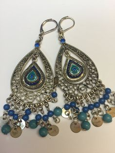 Blue Chandelier Dangle Earrings Gypsy Dangle by MyWorldsTreasures