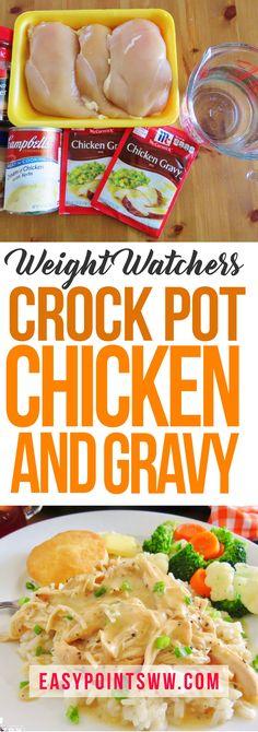 Weight Watchers Crock Pot Chicken And Gravy - Crockpot Recipes Slow Cooker Huhn, Crock Pot Slow Cooker, Crock Pot Cooking, Slow Cooker Chicken, Slow Cooker Recipes, Crockpot Chicken And Gravy, Chicken Pot Pies, Chicken Chili, Cream Of Chicken Gravy Recipe