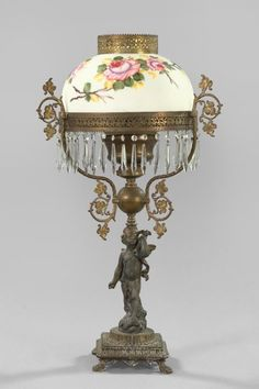 Moss Rose Brass Kerosene Parlor Lamp the fact its not electrified makes me love this more