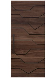 GRACIE A custom door design with irregular lines of custom steel inlays convert a solid wood panel into a stratum of horizontal shapes and an abstract design that inspires. Rendering shown in walnut. Flush Door Design, Grill Door Design, Door Design Interior, Bedroom Door Design, Exterior Design, Main Entrance Door Design, Exterior Entry Doors, Modern Wooden Doors, Wooden Door Design