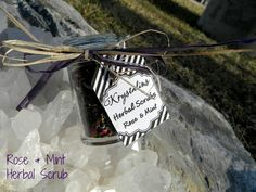 Rose and Mint Herbal Body Scrub by Krystalins on Etsy, $7.25