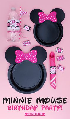 Plantillas gratis de orejitas de Minnie Mouse para decorar platos. #FiestaMinnie