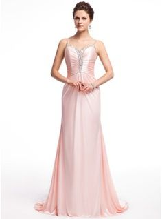 A-Line/Princess Sweetheart Sweep Train Charmeuse Evening Dress With Ruffle Beading - Front View
