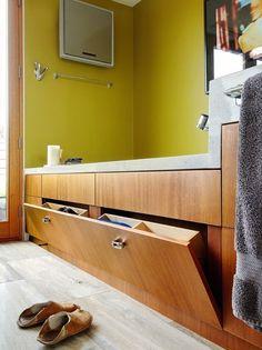 Hidden storage bath cabinets