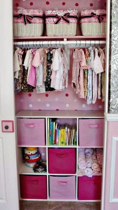 This would work in the other bedroom for the next one... that room is smaller.  Baby girl closet organization w/ a few changes it could work for a boy too!