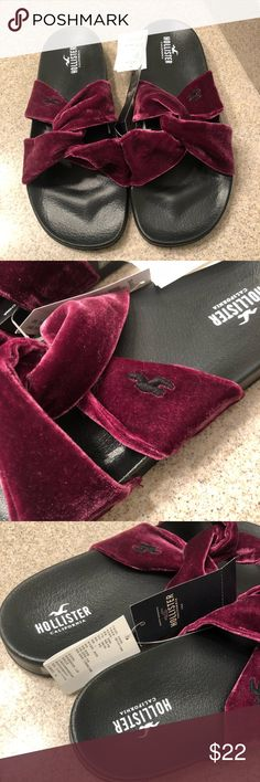 NWT Hollister Maroon Velvet Slides NWT Hollister Fuzzy Slides New with tags, never been worn or tried on Have a soft bed and a very fuzzy bridge over foot These are very comfortable to wear (I have a pair for myself which I have worn) and you do not get any blisters from walking around all day in them! Free shipping with this item, price is pretty firm but catch me on a good day and I might accept a reasonable offer! :) Thanks for checking out my closet! Hollister Shoes