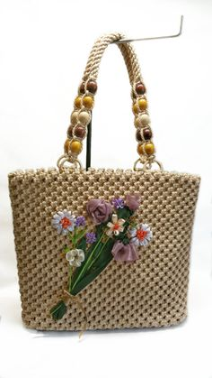 Golden sand macrame bagOOAK bag flower details by BagsMagicKnots