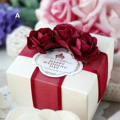 50 pcs Wedding Favor Candy Box White box with Red by sweetywedding, $99.50