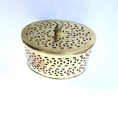Vintage Brass Trinket Box Cutwork Patterned Gold Oval Gift Box Boudoir Dresser Collectible Hollywood Regency Glam Boho Chic Accessory