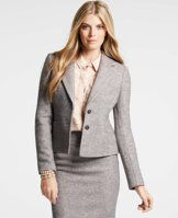 "Petite Tweed Aurelie Jacket - An indispensable part of any wear-to-work wardrobe, we love the texture - and endless versatility - of this timeless tweed jacket. Notched lapel. Long sleeves. Two-button front. Front welt pockets. Lined. 20 3/4"" long."