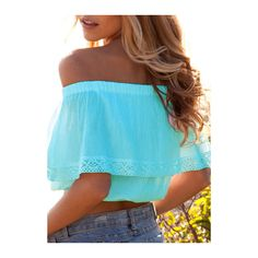 Off The Shoulder Lake Blue Crop Top ($15) ❤ liked on Polyvore featuring tops…