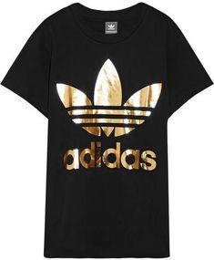 adidas Originals - Trefoil Metallic Printed Cotton-jersey T-shirt - Black  gold and black t shirt short sleeve 7d1b43a0ca0