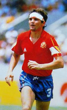 Jose Camacho of Spain in action at the 1986 World Cup Finals. Fifa, World Cup Final, Football, Action, Google, Style, White People, Sports, Good People
