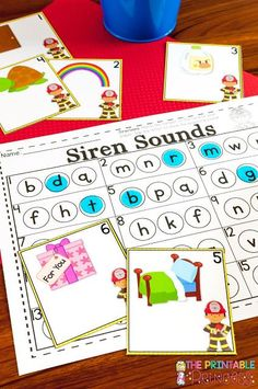 Need fire safety activities & centers for Kindergarten? You're going to LOVE this! These siren sounds activities will keep kids busy. Even your preschool or first grade students will enjoy these, as will homeschool families! Let your primary students enjoy the freebies, picture sort, printables, sound practice, letters, numbers, counting, patterns, & more!  Great for Fire Safety Week in October #classroom #teacher #kindergarten #firstgrade #printableprincess