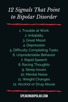 Bipolar Disorder (BPD) can be very disruptive, but it is also very treatable. This post looks at 12 common signs of bipolar. Bipolar Disorder can be very disruptive, but it is also very treatable. This post looks at 12 common signs of bipolar. Bipolar Disorder Quotes, Bipolar Quotes, Living With Bipolar Disorder, Anxiety Disorder, Bipolar Signs, Bipolar Symptoms, Mental Health Quotes, Mental Health Matters, Mental Illness Awareness