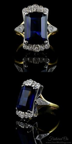 Today we're all about... TANZANITE. Sparkling, deep blue, art deco tanzanite jewelry. Discovered in the 20th century, the shades of this modern gemstone #VintageJewelry