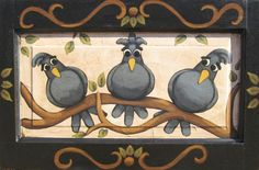 """ These Three Birds "" Whimsical Birds Painting by Annie Lane  www.yessy.com/annielane"