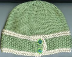 Free knitting pattern for this button-band hat.