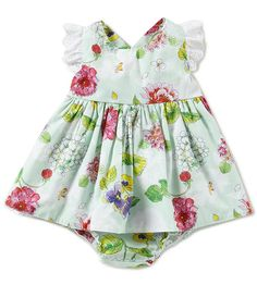 ed0c47b695b Baby Starters Baby Girls 3-12 Months Floral-Print Dress   Checked Bloomers  Set