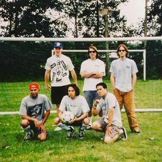 Reposted from @slimrichardson1 - Throwback Thursday. Somewhere in Germany mid 90's. Team RATM USA. Left to Right. Top row, Timmy C , Brian Rat , MC Plenty. Bottom row, Tom Morello , Zack de la Rocha , Brian Chu. #rageagainstthemachine #tourmemories #tommorello #timcommerford #timmyc #zackdelarocha #bradwilkdidntplay #ratm #keepragealive #90s #instagood #instadaily