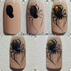 What Christmas manicure to choose for a festive mood - My Nails Holloween Nails, Cute Halloween Nails, Halloween Acrylic Nails, Halloween Nail Designs, Halloween Spider, Manicure Nail Designs, Nail Manicure, Nail Art Designs, Bling Nails