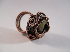 Peridot Rock Ring Wire Wrapped in Oxidized Copper by OurFrontYard, $19.77